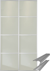Contemporary Soft White Glass (4 Panel) Doors & Track Set to fit an opening width of 1498mm